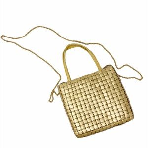 Vintage Mini Crossbody Chain Purse Bag Gold Metal